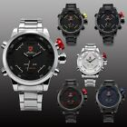 6 Color SHARK Stainless Steel Digital LED Analog Waterproof Mens Sport Watch Box