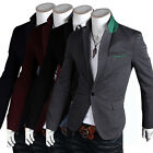 Men's One Buttons Business Formal Blazers Coats Casual Suits Jackets Side Slits