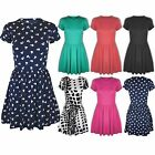 Womens Ladies Stretchy Cap Sleeves Tie Dye Print Flared Skater Party Dress Sizes