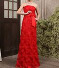 New Arrival Custom Made Strapless Lace Party Bridesmaid Evening Dress Gown