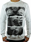 NEW MENS WHITE CREW NECK JUMPER DRUGS SWEATER CASUAL GYM FASHION BASIC STYLE