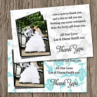 Personalised Wedding Photo Thank You Cards + Envelopes - 6 Colour Options - TP5