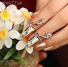 GOLD / SILVER STAR DIAMANTE LONG NAIL ART CLAW FINGER TIP RING PUNK FREE GIFT UK