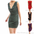 Mesh Fabric Fully Lined Cowl Neck Ruched Sheath Cocktail Party Mini Dress
