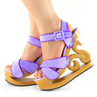 New Vogue Purple Wooden Wedge Platform Clogs Sandals US Size 4/5/6/7/8/8.5