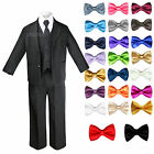 Boys Teen Black Formal Wedding Party Suits Tuxedos with Extra Bow Tie Sz 4T-20