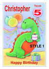 PERSONALISED HAPPY BIRTHDAY DINOSAUR CARD ANY AGE ANY NAME MULTI DINO A5