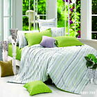 Green Striped Double/Queen/King Size Bed Quilt/Doona/Duvet Cover Set New Cotton