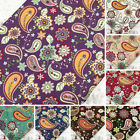 FQ. FUNKY PAISLEY & RETRO FLOWER 100% COTTON FABRIC Dress Clothing Quilting VA30