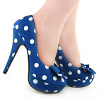 New Dark Blue White Polka Dots Bow EVE Platform Shoes US Size 4/5/6/7/8/9/10