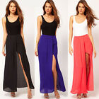 New Sexy Womens BOHO Open Side Split Skirt Summer Solid Chiffon Long Maxi Skirt