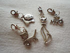 1 TIBETAN SILVER CAT CLIP ON CHARM FOR CHARM BRACELETS, CARDS, PURSE, CAT COLLAR