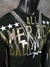 NWT Mens SAINTS Luxury STARS AND GUNS T Shirt with Crystals & Studs