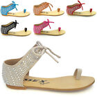 NEW WOMENS FLAT SANDALS LADIES DIAMANTE TIE UP SUMMER FLATS CASUAL SHOES SIZE