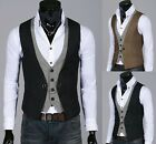 Mens Stylish Double Layered Button Chained Waistcoats Vest (2 colors,UK size)