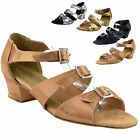 "Women's Ballroom Salsa Latin Practice Leather Dance Shoes 1679 Very Fine1.5""Heel"