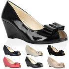 New Womens Bow Ladies Peep Toe Wedge Heel Formal Smart Office Shoes Size 4-9
