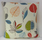 NEW BRAND NEW SINGLE CUSHION COVERS  RETRO 60s STYLE GREEN BLUE RED BIEGE LEAVES