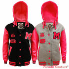 NEW KIDS GIRLS VARSITY BASEBALL HOODED BOMBER JACKET FLUORESCENT TOP AGE 7-13