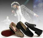 HotSell Mens Spike Punk Studded rivet Loafer Sexy flat shoes Black&Panther Print
