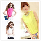 Fashion Women's Pleated Chiffon Sleeveless Vest Crystal Neck T-Shirt Tops Blouse