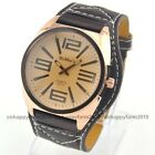 Luxury Man Big Numeral Oversize Gold Dial Leather Band Mens Boys Wrist Watches