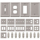 single wall outlet - Wall Switch Plate Outlet Cover Toggle Duplex Rocker - Brushed / Satin Nickel