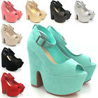 LADIES HIGH HEEL PLATFORM DEMI WEDGE WOMENS PEEP TOE ANKLE STRAP SHOES SIZE 3-8