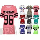 Womens New York Print Jersey Ladies Oversized American Baseball Baggy Tshirt Top