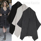 AnnaKastle New Womens Rib and Cable Warm Lambswool Knit Pocket Shawl Sweater