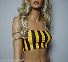 BLACK YELLOW STRIPE LYCRA BOOB TUBE TOP STRAPLESS BANDEAU CLUB PARTY GYM BRA W88