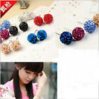 Austrian Crystal Pave Disco Clay Ball Beads Steel Stud Earrings 6,8,10,12mm Chos