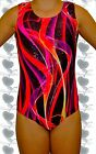 Holographic Red Abstract Gymnastics Leotard with Free Scrunchie