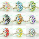 FASHION CRYSTAL & RESIN 925 SILVER CORE CHARM BEADS FIT EUROPEAN BRACELET 1PC