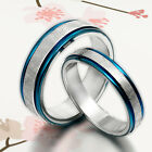 US Unique Men & Women Blue Wedding Titanium Ring Set Sz4-16