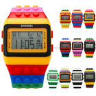 10 Color Brick Style LCD Digital Adjustable Silicone Men's Lady Kids Sport Watch