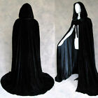 Stock Black Hooded Cloak Velvet Cape Halloween Wedding Wicca SCA Size SMLXLXXL
