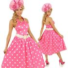 Adult Pink 1950s Fashion Costume Polka Dot Vintage Fancy Dress 50s Party Outfit