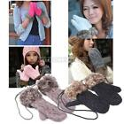 UN3F Lovely Women Winter Warm Knitted Gloves Hang Neck Ragwool Mittens 6 Colors