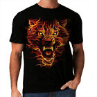 Flaming Wolf New Fire Men Women Top T-Shirt Animal Lion Tiger Horror Demon *h92