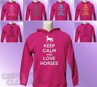 Pink Hoodie KEEP CALM and LOVE HORSES Horse Riding girls womens Pony Ride hoody