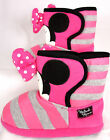 New Girls Disney Minnie Mouse Pink Grey Stripe Velcro Boot Slippers Sizes 7-1UK