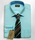 Boys Aqua Blue Formal Shirt And Tie Set Wedding Device Suit Shirts
