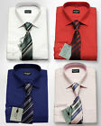 MEN'S BOYS FORMAL SHIRTS WITH TIE  PAGE BOY WEDDING SMART SHIRT