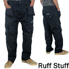 Mens RUFF STUFF Professional Work Cargo Combat Tough Trousers Multi Pockets