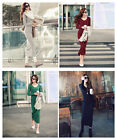 HOT Fashion Sexy Womens Lady Fall Winter Long Sleeve Wool V-Neck Long Dress Tops