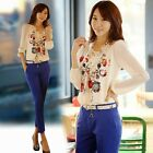 Fashion New Women's Printing Chiffon Long Sleeve Slim Cut Tops Blouse Crew Neck