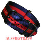 PREMIUM ZULU PVD 5 Ring NAVY RED 20mm,22mm,24mm Military Divers watch strap band