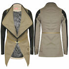 Womens PVC PU Waterfall Girls Leather Look Ladies Sleeves Cropped Jacket Blazer