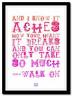 U2 - Walk on  - song lyric poster typography art print - 4 sizes xl xxl large